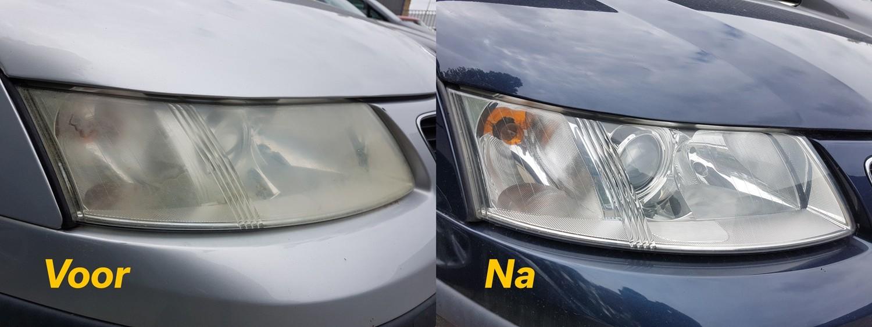 Saab koplampen - voor en na